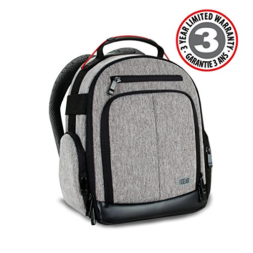 USA Gear Compact Digital Camera Backpack (Gray) with Customizable Accessory Dividers, Weather Resistant Bottom, Comfortable Back Support for Canon EOS T5 / T6 - Nikon D3300 / D3400 and More SLRs!