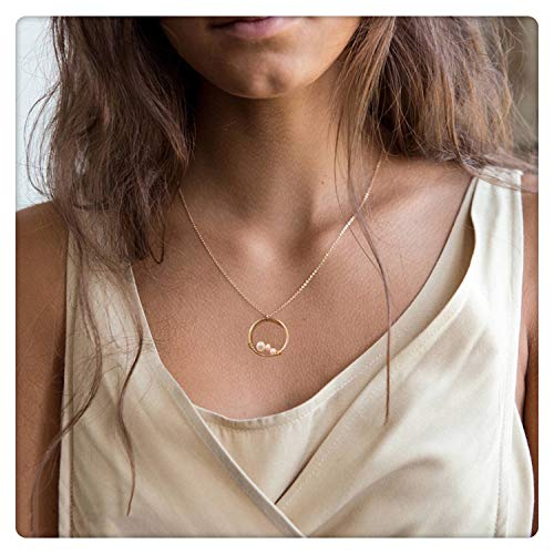 (SEAYII Women 3 Generations Necklace Gold Karma Open Circle Pendant 3 Pearl Peas in A Pod Dainty Chain 14K Gold Fill Boho Beach Simple Delicate Handmade Gold Jewelry Gift)