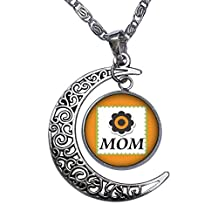 GiftJewelryShop MOM daisy in a square Crescent Moon Galactic Universe Glass Cabochon Pendant Necklace