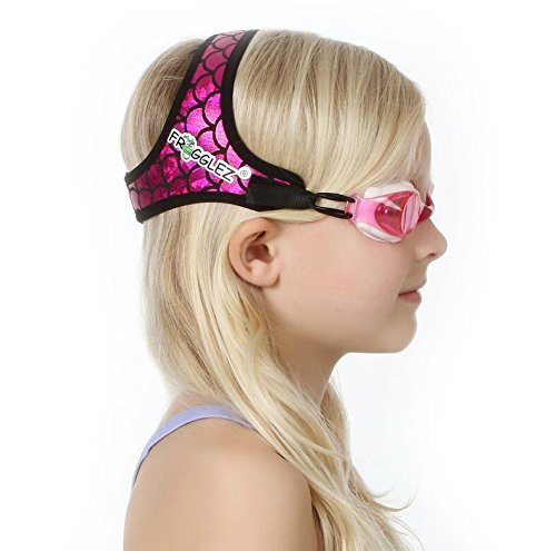 (Frogglez Kids Swim Goggles with Patented Painless Strap Technology - No Leaking, Anti Fog, UV Protection, Best for 6 and Under )