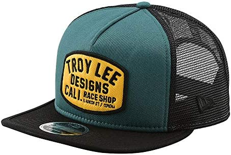 Troy Lee Designs Blockworks Snapback Hat Pine Needle Green//Gold