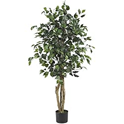 Chapman Greens [4 Foot] Artificial Silk Indoor Decorative Faux Ficus Tree Floor Plant for Home and Office Decor