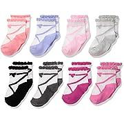 Hudson Baby Basic Socks, 8 Pack, Ballet Scalloped, 0-6 Months