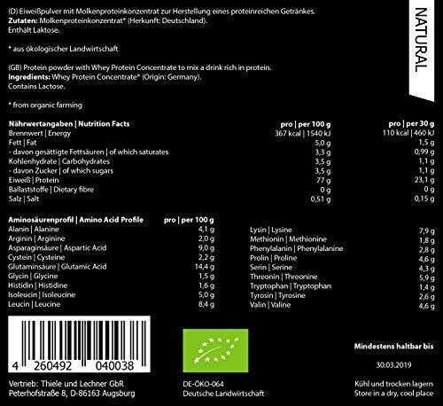 ORGAINIC Bio Natural Whey Protein Pulver - Bio Zertifiziert - Eiweißpulver aus Deutschland - Grasfütterung - 1000g: Amazon.es: Salud y cuidado personal