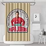 LINXY Papa Johns Png Logo Shower Curtain Professional Bathroom Waterproof Shower Curtain Liner Fabric Shower Curtain 71' X 71' Shower Curtains with Hooks