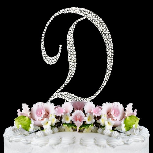 Completely Covered Swarovski Crystal Silver Wedding Cake Toppers ~ LARGE Monogram Letter D by RaeBella Weddings & Events New York (Cake Jewelry Swarovski)