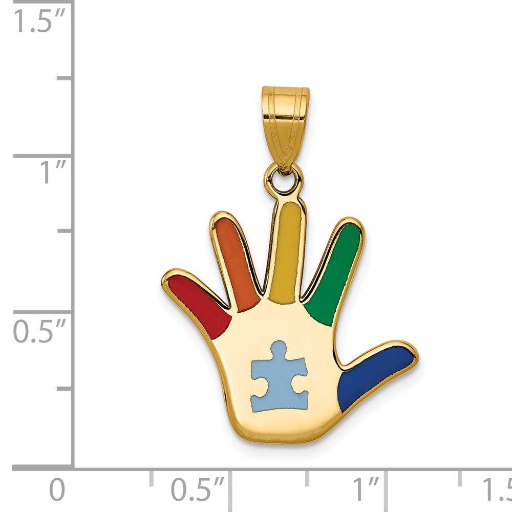Mia Diamonds 14k Yellow Gold Enameled Autism with Puzzle Piece Handprint Pendant