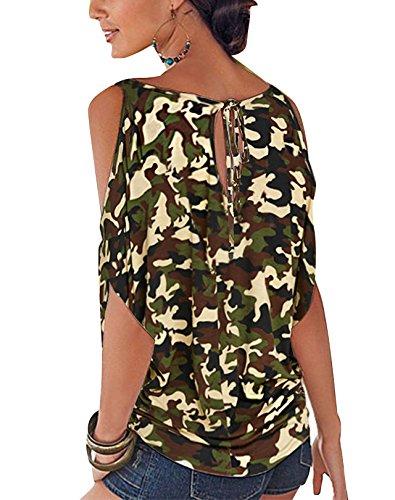 YOINS Lache paules Ouvertes Floral Batwing Col Imprime t Demi Blouse Militaire Tops Manches Dnudes Vert Femme Sexy avec Chic Noues Haut Round rU0fUOAW