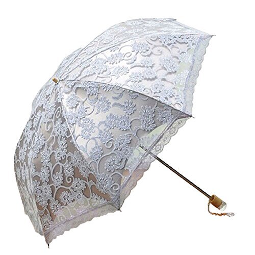leegoal ladies umbrella lace parasol folding umbrella sun shade anti uv grey buy online in. Black Bedroom Furniture Sets. Home Design Ideas