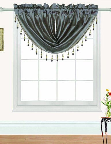 RT Designers Collection Nikki Faux Silk Beaded 47 x 37 in. Swag Valance, Taupe ()