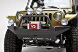 Body Armor JK-19531 Front Bumper; Sheet Metal Design; Intergrated Winch Plate; w/Shackle Mounts; Textured Black Powder Coat;