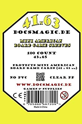 docsmagic.de 100 Mini American Board Game Sleeves - 41 x 63 - Small US - 43 x 65