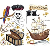 Instant Murals by Sherri Blum Peel and Stick Wall Stickers – Pirate Ship and Accessory Set, Baby & Kids Zone
