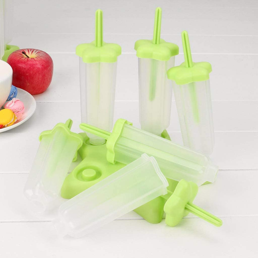 Set of 6 Popsicle Ice Tray Molds HolderReusable Plastic Popsicle Ice Pop Molds DIY Ice Cream Pop Molds