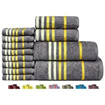 Casa Copenhagen Exotic Cotton 475 GSM 12 Pieces Bath, Hand & Washcloth Towels Set