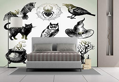 Large Wall Mural Sticker [ Vintage Halloween,Halloween Related Pictures Drawn by Hand Raven Owl Spider Black Cat Decorative,Black White ] Self-adhesive Vinyl Wallpaper / Removable Modern Decorating Wa ()