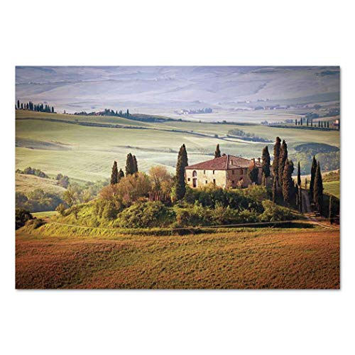 Large Wall Mural Sticker [ Tuscan,Tuscany Seen From Stone Ancient Village of Montepulciano Italy in Cloudy Day,Green and Brown ] Self-adhesive Vinyl Wallpaper / Removable Modern Decorating Wall Art