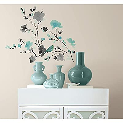 RoomMates Blossom WaterColor Bird Branch Peel and Stick Wall Decals, ,