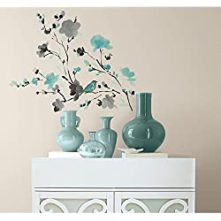 RoomMates RMK2687SCS Blossom Watercolor Bird Branch Peel and Stick Wall Decals