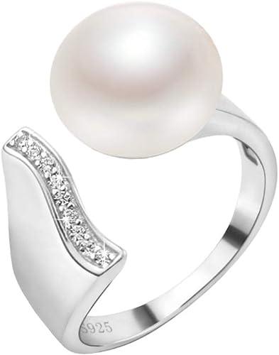 Anillo de perlas de agua dulce natual de plata de ley