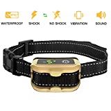 Nemobub No Bark Collar Rechargeable Humane Smart Detection Anti-Bark Collar With Beep/Vibration/Safe Shock/ Sensitivity Control Waterproof Bark Training Collar for Small, Medium, Large Dogs (Gold) (Gold)