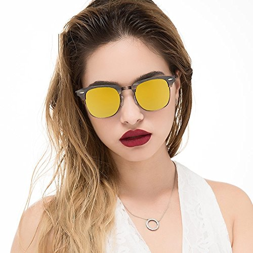 C10 Polarizadas Haciendo En C99 Sol TIANLIANG04 Gafas Azul Metal Gafas YELLOW De Mano Unisex Back nwBpwYxq8P