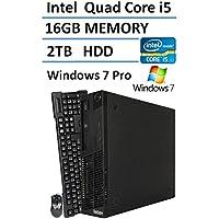 Lenovo ThinkCentre M91 High Performance Small Factor Desktop (Intel Quad Core i5 up to 3.4GHz Processor), 16GB DDR3 RAM, 2TB HDD, DVD, RJ45, Windows 7 Professional (Certified Refurbished)