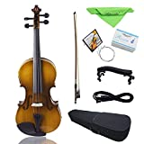 Walmeck Electric Violin Fiddle Kit Solid Wood Spruce Face Board with Bow Hard Case Shoulder Rest Audio Cable Rosin Extra Strings Clean Cloth Retro Sunset