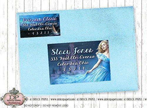 10 PRINCESS CINDERELLA Birthday Party RETURN & GUEST Address Labels for your Invitation Envelopes Cinderella Address Labels