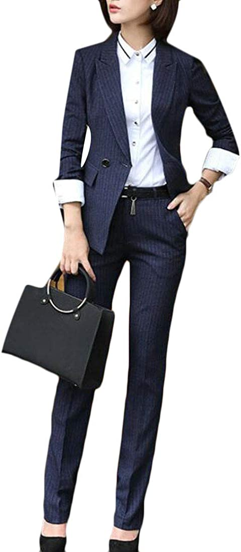 C/&H Womens Double-Breasted Blazer Coat Pants Slim Business Suit Sets