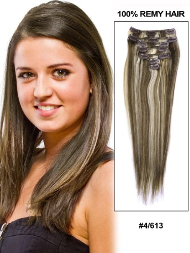 Fohair 32 Inch Clip in/on Indian Remy Human Hair Extensions Full Head Volume Set 12 Pieces #4/613 Silky Straight