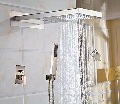 Rozin® Rain Waterfall Bathroom Shower Faucet Set with Handheld Spray Brushed Nickel