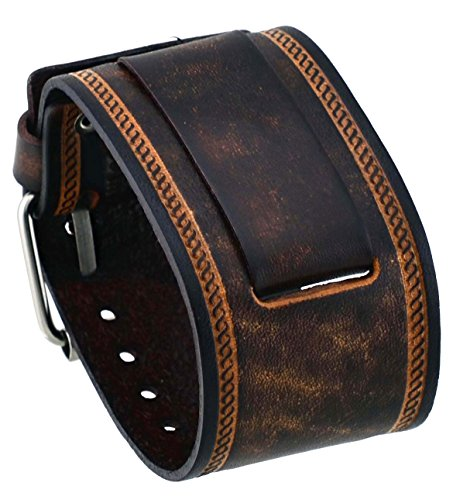 (Nemesis #IN-BS Wide Brown Leather Cuff Wrist Watch Band)