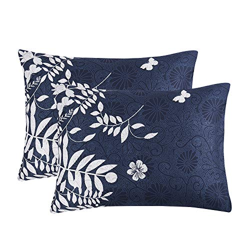 (Wake In Cloud - Pack of 2 Pillow Cases, Navy Blue with Gray Grey Floral Flowers Tree Leaves Pattern Printed, Soft Microfiber Pillowcases (Standard Size, 20x26 Inches))
