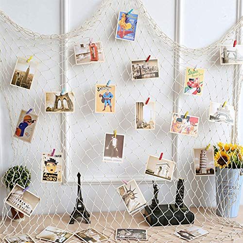 (XP-Art Photo Hanging Display Fishnet Wall Decor Decorative Picture Frame DIY Includes Picture Hanging Wire Twine Cords, 6 Random Pendant, 10 Nails and 30 Clothespin)