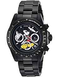 Invicta Mens Disney Limited Edition Quartz Stainless Steel Casual Watch, Color:Black (Model: 25197)