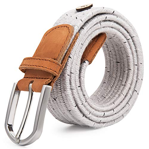 Upgraded Cow Leather Tip Braided Stretch Belt - Fabric Woven Belt - Casual Weave Elastic Belt for Men and Women