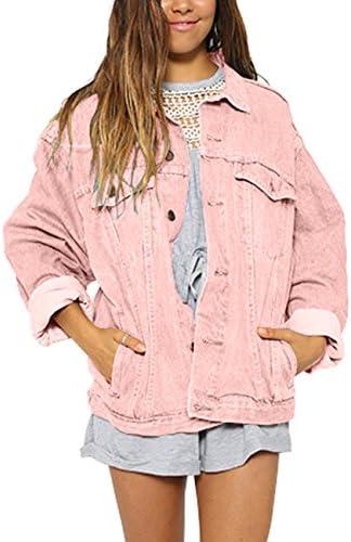 Oversized Denim Jacket for Women Long Sleeve Classic Loose Jean Trucker Jacket
