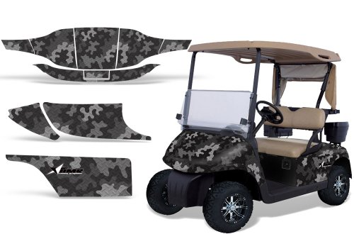 1996-2010 EZGO Golf Cart AMRRACING ATV Graphics Decal Kit-Camo Plate-Black