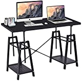 "Toolsempire 48"" Height Adjustable Computer Desk Riser PC Laptop Workstation Student Kid Tabletop, Multifunctional Study Writing Reading Vanity Table with Storage Shelves for Home Office Furniture"