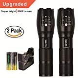 8000 lumen light - Skywolfeye 2 Pack Flashlights 8000 Lumen Tactical Flashlight Super Bright T6 LED Zoomable Rechargeable Flashlights with 18650 Battery for Camping and Hiking