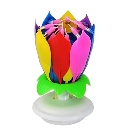 GosearRMusic Birthday Candle Multi Colors Musical Lotus Flower Rotating Happy With 14 Candles Amazoncouk Kitchen Home