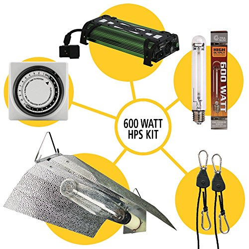 Grow Light Reflector (Sun System Grow Light Kits - Wing Reflector Kit | Ultra Sun 600 Watt HPS Lamp | Light Timer | Galaxy 600 Watt Ballast | Light Hanger/Rope Ratchets)