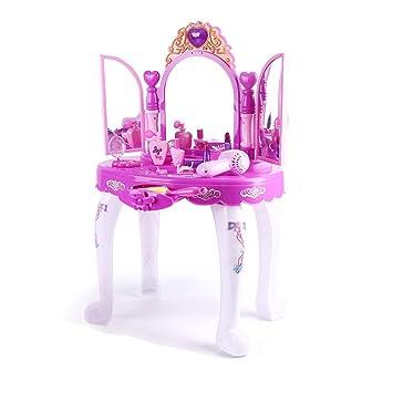 Lineary Juguete Interesante para niños Vestido de Las niñas Maquillaje Vanity Table Kids Princesa glamorosa Pretend Vanity Desk con Taburete Secador de ...
