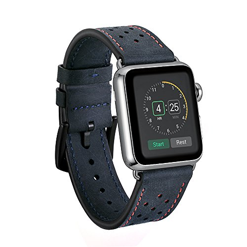 Kartice for Apple Watch Band,Luxury Genuine Leather Watch Band Strap Bracelet Replacement Wrist Band With Adapter Clasp for iWahtch Apple Watch & Sport & Edition--Navy 42mm