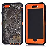 "MOONCASE iPhone 6S Plus Case, [Realtree Camo Series] 3 Layers Heavy Duty Defender Hybrid Soft TPU +PC Bumper Triple Shockproof Drop Resistance Protective Case Cover for Apple iPhone 6 Plus / 6S Plus 5.5"" -Orange Withered"