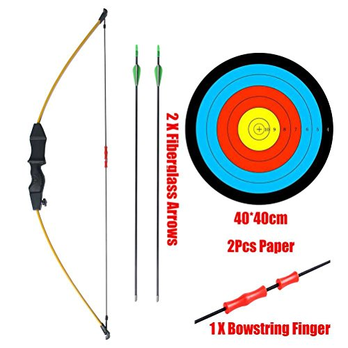 PG1ARCHERY Kids Bow and Arrow Set, Basic Takedown Archery Practice Outdoor Game Sports Toy Gift Scout Bow Kit with 2 Fiberglass Arrows & Target Paper Yellow
