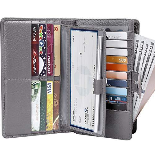 Itslife Women's Big Fat Rfid Blocking Leather wallet clutch organizer with checkbook holder(Gray)