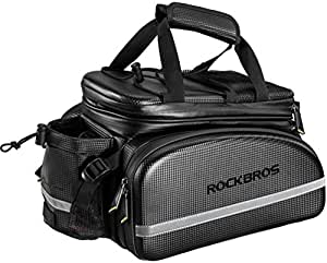 RockBros Bike Rack Bag Trunk Bag Waterproof Carbon Leather Bicycle Rear Seat Cargo Bag Rear Pack Trunk Pannier Handbag