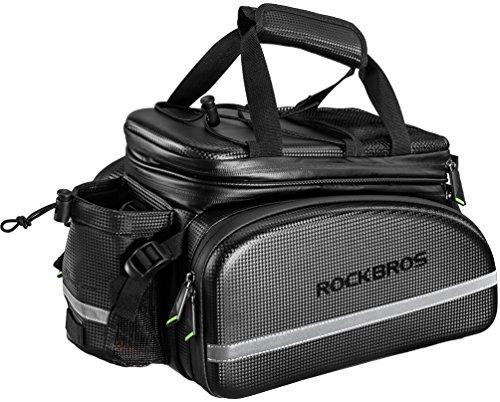 (RockBros Bike Rack Bag Trunk Bag Waterproof Carbon Leather Bicycle Rear Seat Cargo Bag Rear Pack Trunk Pannier Handbag )
